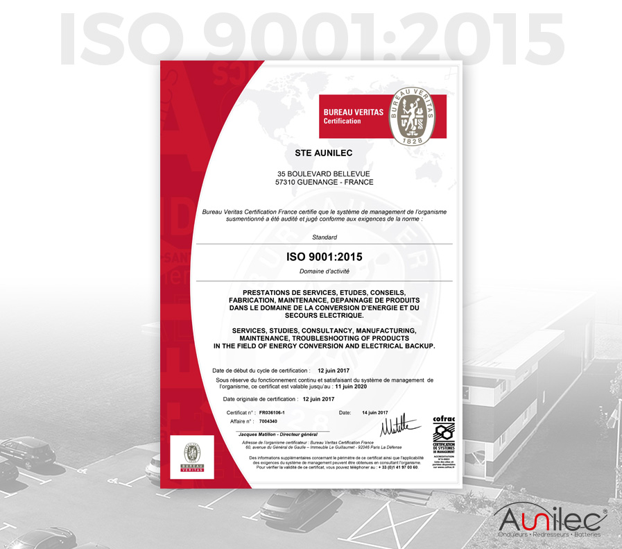 Certification ISO9001 Aunilec
